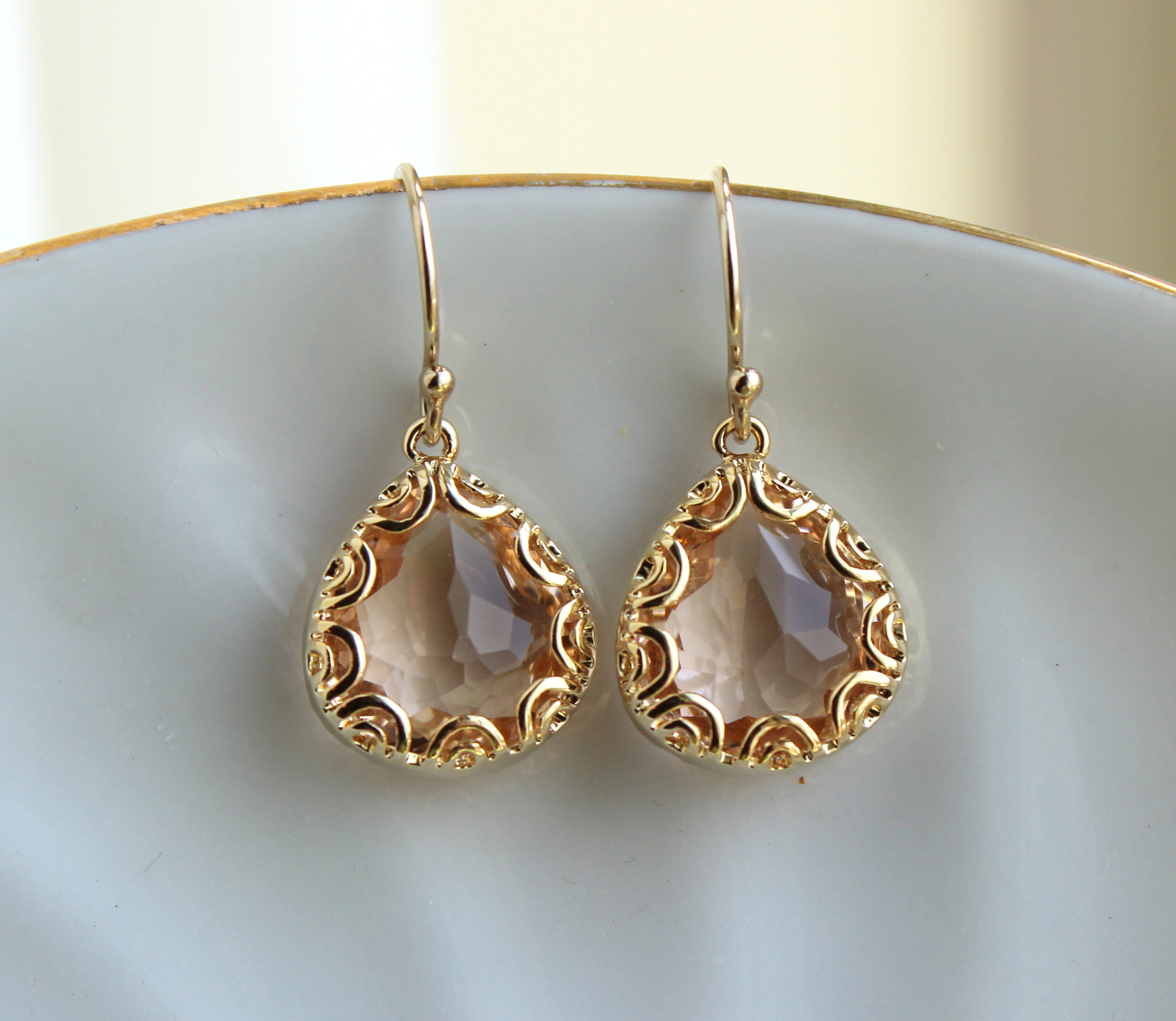 Gold champagne blush earrings peach pink jewelry pear for Jewelry for champagne wedding dress